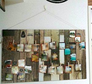100均DIYで作った斜視ボードを飾った壁