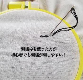 刺繍枠を使って布を張った状態