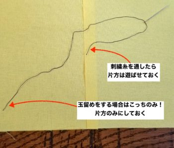 刺繍糸と針の使い方と玉留めのやり方